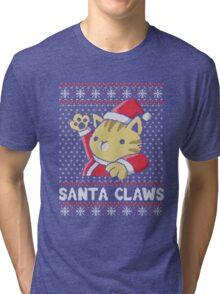Cat Santa Claws Tri-blend T-Shirt
