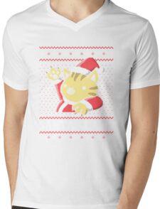 Cat Santa Claws Mens V-Neck T-Shirt