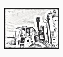 DSNY black and white sketch  One Piece - Short Sleeve