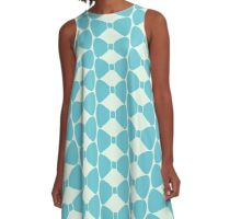 Turquoise Pastel Bow A-Line Dress