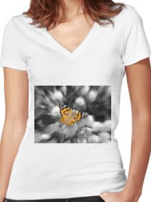 A Painted Lady  Women's Fitted V-Neck T-Shirt