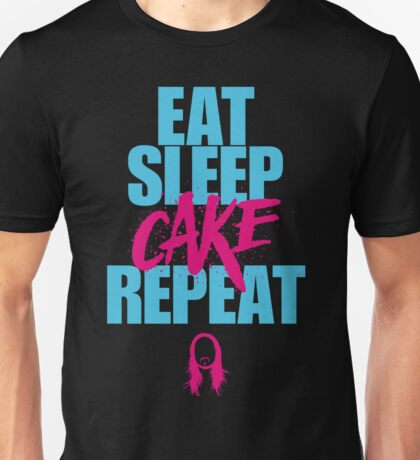 Steve Aoki - eat sleep cake repeat - Blue - Pink Unisex T-Shirt