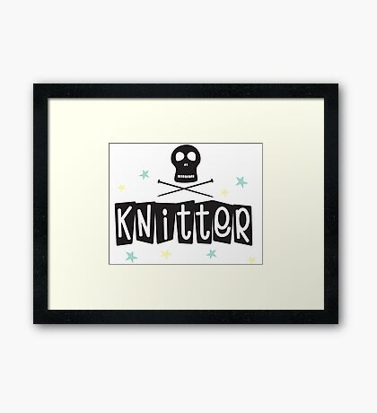 Crafty Kitsch - Knitter (black text) Framed Print