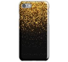 Stylish golden glitter round confetti on black vector background. Shining gold shimmer luxury design card. iPhone Case/Skin