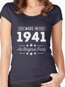 Made In 1941 All Original Parts 75th Birthday Gift T-Shirt Women's Fitted Scoop T-Shirt