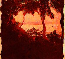 A digital painting of  Sunset Through Grove of Royal Palms, Zanzibar 1936 by Dennis Melling
