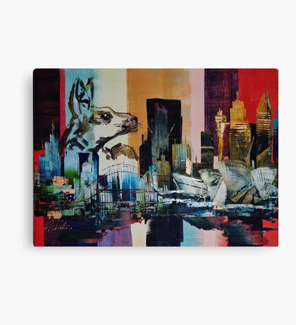 Australia City Skyline Kangaroo Canvas Print