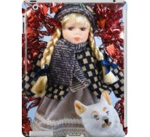 Winter gift. A muffled doll and a dog iPad Case/Skin