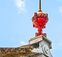 Red Finial atop Old Cantilever Bridge by Kenneth Keifer