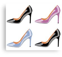 High heel shoes in black,serenity blue and bodacious pink Canvas Print