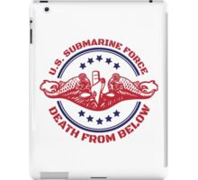 Cool Red, White and Blue U.S. Submarine Force Death from Below T-Shirt iPad Case/Skin