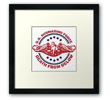 Cool Red, White and Blue U.S. Submarine Force Death from Below T-Shirt Framed Print