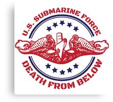 Cool Red, White and Blue U.S. Submarine Force Death from Below T-Shirt Canvas Print