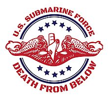 Cool Red, White and Blue U.S. Submarine Force Death from Below T-Shirt Photographic Print