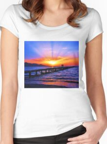 Sunset in the beach Women's Fitted Scoop T-Shirt
