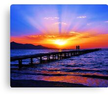 Sunset in the beach Canvas Print