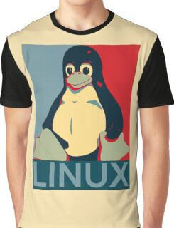 Tux Linux Hope Poster Parody Design for Free Software Geeks Graphic T-Shirt