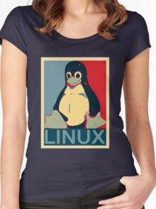 Tux Linux Hope Poster Parody Design for Free Software Geeks Women's Fitted Scoop T-Shirt