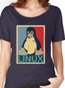 Tux Linux Hope Poster Parody Design for Free Software Geeks Women's Relaxed Fit T-Shirt