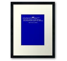 Windows blue screen of death BSOD Framed Print