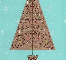 Christmas tree and snowflakes by lizblackdowding