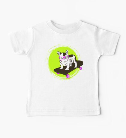 French Bulldog in glasses on a skateboard Baby Tee