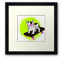 French Bulldog in glasses on a skateboard Framed Print