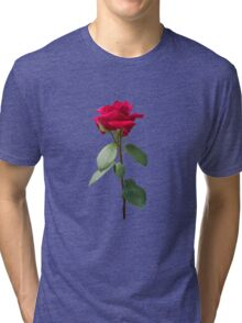 Single red rose Tri-blend T-Shirt