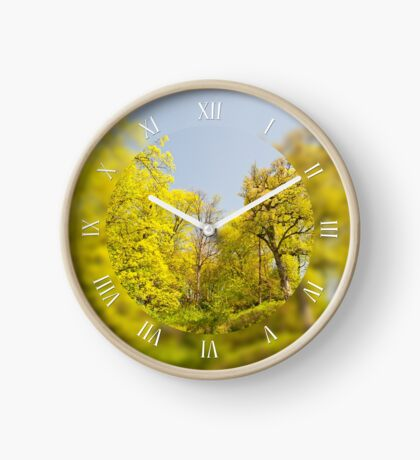 Green spring trees in park view Clock