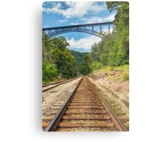 Railroad and Big Bridge Metal Print