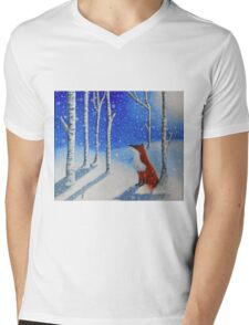 Fox In The Snowy Woods Mens V-Neck T-Shirt