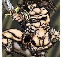 Leaping Barbarian by psychoandy