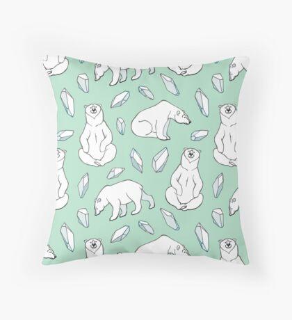 Polar bears on minty green Throw Pillow