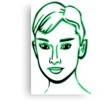 Audrey Hepburn Green Canvas Print