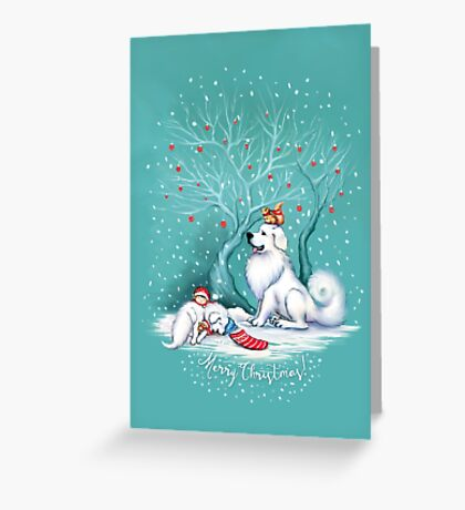Great Pyrenees Christmas - Waiting for Santa Greeting Card