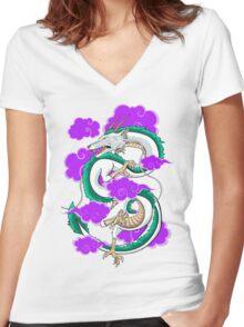 Haku Clouds Women's Fitted V-Neck T-Shirt