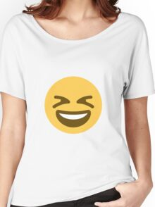 Smiling face with open mouth and tightly-closed eyes Women's Relaxed Fit T-Shirt