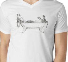 Dachshund in a bathtub illustration, pen and ink Mens V-Neck T-Shirt