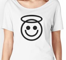 The Internet Generation Collection - Smiling Angel Emoji - Black and White Pattern Women's Relaxed Fit T-Shirt