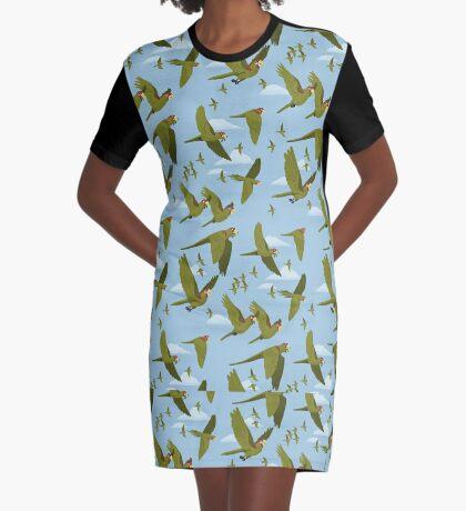 Parakeet Migration Graphic T-Shirt Dress