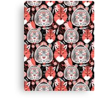 beautiful pattern  portraits of tigers and foxes Canvas Print