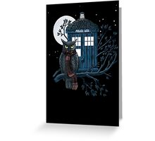 Owl And Tardis Greeting Card