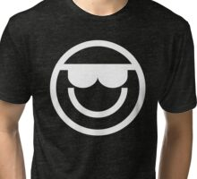 The Internet Generation Collection - Cool Sunglasses Emoji - White and Black Tri-blend T-Shirt