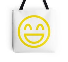 The Internet Generation Collection - Wide Smile Emoji with Closed Eyes - Yellow and White Pattern Tote Bag