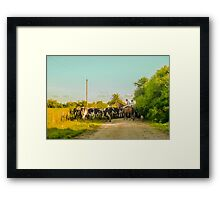 Horse Ranchers with their Cattle Framed Print