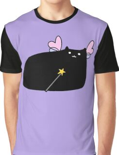 Chubby Black Cat Fairy Graphic T-Shirt