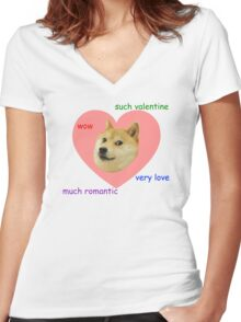 Doge Much Valentines Day Very Love Such Romantic Women's Fitted V-Neck T-Shirt