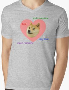Doge Much Valentines Day Very Love Such Romantic Mens V-Neck T-Shirt