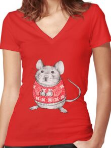 A Festive Mouse Women's Fitted V-Neck T-Shirt
