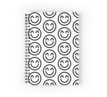 The Internet Generation Collection - Smiling Emoji with Closed Eyes - Black and White Pattern Spiral Notebook